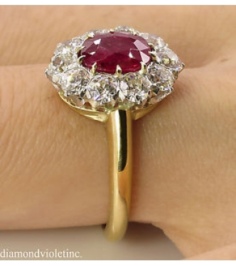 AGL 2.31ct Antique Vintage Victorian Dark Red Burma Ruby Diamond Engagement Wedding Cluster 18k Yellow Gold Ring