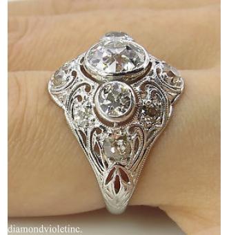 GIA 2.25ct Antique Vintage Old European Diamond Engagement Wedding Platinum Ring