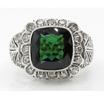 5.01ct Antique Vintage Art Deco Green Tourmaline Diamond Engagement Wedding Platinum/18k Gold Ring