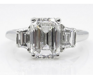GIA 2.54CT Estate Vintage Emerald cut Diamond 3 stone Engagement Wedding Platinum Ring