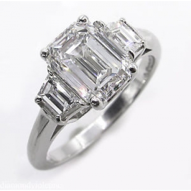 GIA 2.54CT Estate Vintage Emerald cut Diamond 3 stone Engagement Wedding Platinum Ring