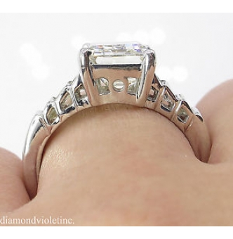 5.82ct Estate Vintage Emerald Diamond Engagement Wedding 18k White Gold Ring