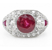 AGL 5.25 Estate Vintage No HEAT Red BURMA Ruby Diamond Engagement Wedding Platinum Ring