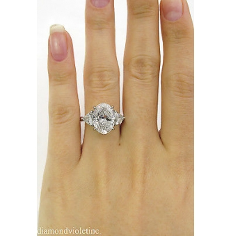 5.66ct Estate Vintage Oval Diamond 3 Stone Engagement Wedding Platinum Ring EGL USA