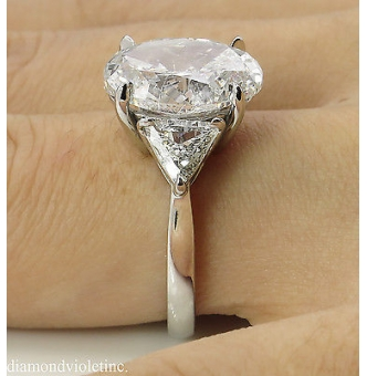 5.66ct Estate Vintage Oval Diamond 3 Stone Engagement Wedding Platinum Ring EGL USA