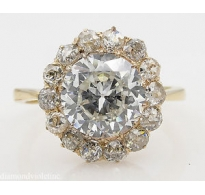GIA 4.79ct Antique Vintage Victorian Old European Diamond Cluster Engagement 18k Yellow Gold Ring