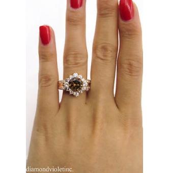 GIA 4.03ct Estate Vintage Fancy Cognac Round Diamond Cluster Engagement Wedding 18k Rose Gold Ring