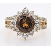 GIA 4.03ct Estate Vintage Fancy Cognac Round Diamond Cluster Engagement Wedding 18k Rose Gold Ring
