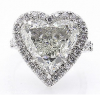 GIA 5.20ct Estate Vintage Heart Diamond Halo Engagement Wedding Platinum Ring