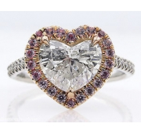 2.64ct Estate Vintage Heart Diamond Halo Engagement Wedding Platinum Ring