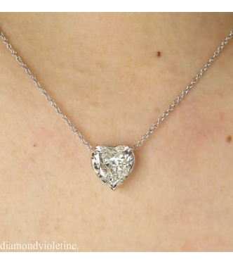 3.05ct Estate Vintage Heart Diamond Pendant Necklace in 18k White Gold EGL USA