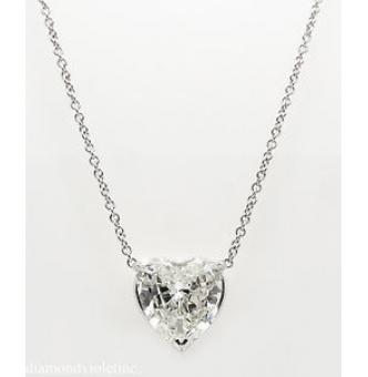 3.05ct Estate Vintage Heart Diamond Pendant Necklace in 18k White Gold EGL USA