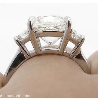 GIA 4.50ct Estate Vintage Cushion Diamond Three Stone Engagement Wedding Platinum Ring