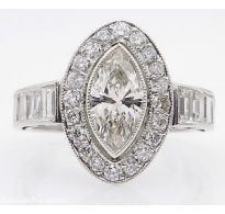 2.62ct Antique Vintage Art Deco Marquise Diamond Engagement Wedding Platinum Ring EGL USA