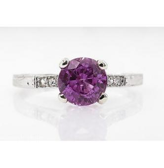 1.36ct Antique Vintage Art Deco Pink Sapphire Diamond Engagement Wedding Platinum Ring EGL USA