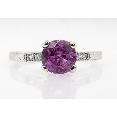 1.36ct Antique Vintage Art Deco Pink Sapphire Diamond Engagement Wedding Platinum Ring EGL USA