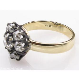 1.43ct Antique Vintage Old European Diamond Cluster Engagement Wedding 14k Yellow Gold Silver Ring EGL USA