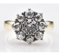 1.43ct Antique Vintage Old European Diamond Cluster Engagement Wedding 14k Yellow Gold Silver Ring EGL USA
