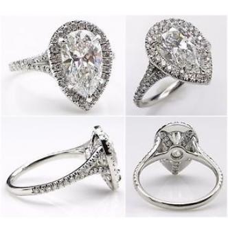 GIA 3.01ct Estate Vintage Pear Diamond Halo Engagement Wedding Platinum Ring