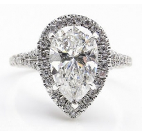 GIA 3.01ct Estate Vintage Pear Diamond Halo Engagement Wedding Platinum Ring
