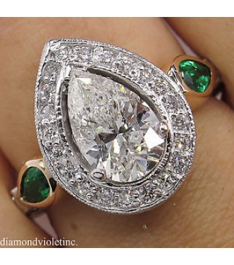 2.61ct Estate Vintage Pear Diamond Green Emerald Engagement Wedding Platinum/14kGold Ring