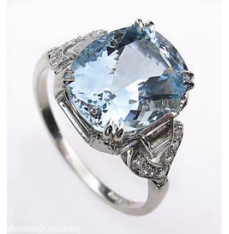 RESERVED.. GIA 4.74ct Antique Vintage Aquamarine Diamond Engagement Wedding Platinum Ring