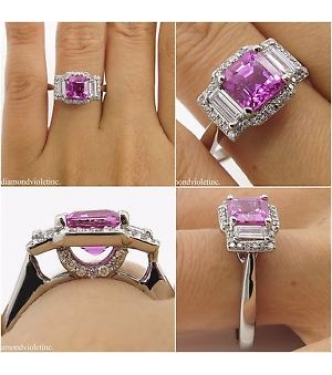 AGL 3.03ct Estate Vintage No Heat Pink Sapphire Diamond 3 Stone Engagement Wedding 18k White Gold Ring