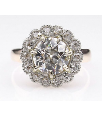 GIA 2.01ct Antique Vintage Victorian Old European Diamond Cluster Engagement Wedding Yellow Gold Ring