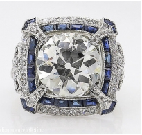5.34ct Estate Vintage Old European Diamond Sapphire Engagement Wedding Platinum Ring