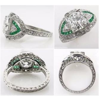 GIA 3.10ct Estate Vintage Old European Diamond Green Emerald Engagement Wedding Platinum Ring