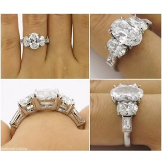 GIA 3.45ct Estate Vintage Oval Cut Diamond Three Stone Engagement Wedding Platinum Ring