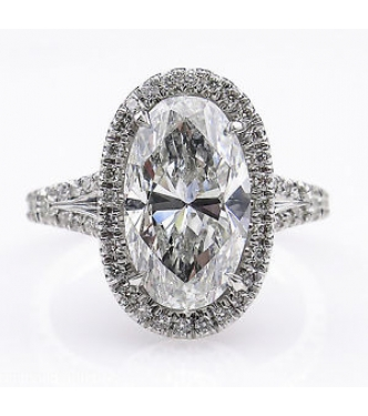 4.27ct Estate Vintage Oval Diamond Engagement Wedding Platinum Ring EGL USA