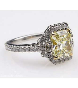 GIA 2.51ct Estate Vintage Fancy Yellow Radiant Diamond Engagement Wedding Platinum Ring