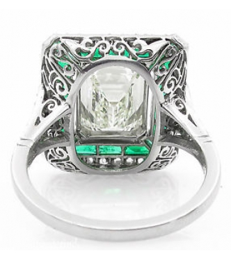 5.63ct Estate Vintage Emerald Diamond Engagement Wedding Platinum Ring EGL USA