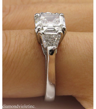 GIA 1.86ct Estate Vintage Asscher Diamond 3 Stone Engagement Wedding Platinum Ring