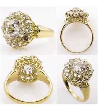 3.12ct Antique Vintage Victorian Old European Diamond Cluster Engagement Wedding 18k Yellow Gold Ring EGL USA