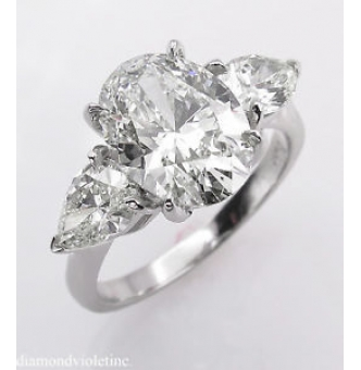 GIA 3.70ct Estate Vintage Oval Diamond 3 Stone Engagement Wedding Platinum Ring