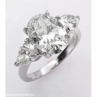 GIA 3.70ct Estate Vintage Oval Diamond 3 Stone Engagement Wedding Platinum Ring