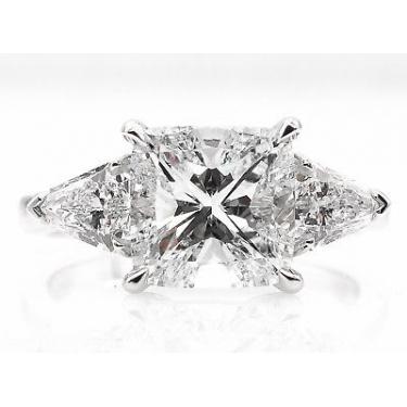 GIA 2.82ct Estate Vintage Cushion Diamond Three Stone Engagement Wedding Platinum Ring