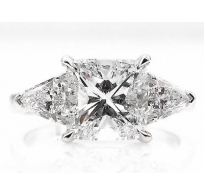 GIA 2.82ct Estate Vintage Cushion Diamond Three Stone Engagement Wedding Platinum Ring