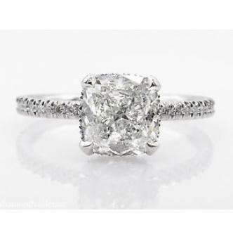 GIA 2.51ct Estate Vintage Cushion Diamond Engagement Wedding Platinum Ring