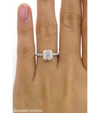 GIA 2.51ct Estate Vintage Cushion Diamond Engagement Wedding Platinum Ring