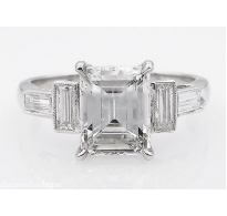 GIA 3.11ct Antique Vintage Art Deco Emerald cut Diamond Engagement Wedding Platinum Ring
