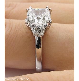 GIA 3.43ct Estate Vintage Cushion Diamond 3 Stone Engagement Wedding Platinum Ring