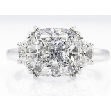 GIA 3.43ct Estate Vintage Cushion Diamond 3 Stone Engagement Wedding Platinum Ring