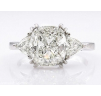 Shy 3.00ct Estate Vintage Cushion Diamond 3 Stone Engagement Wedding Platinum Ring EGL USA