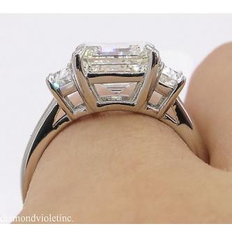 RESERVED... GIA 3.65ct Estate Vintage Asscher Diamond 3 Stone Engagement Wedding Platinum Ring