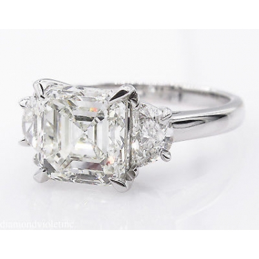GIA 3.65ct Estate Vintage Asscher Diamond 3 Stone Engagement Wedding Platinum Ring