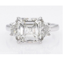 GIA 3.65ct Estate Vintage Asscher Diamond 3 Stone Engagement Wedding Platinum Ring