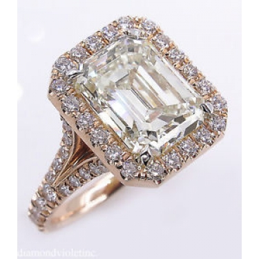 5.02ct Estate Vintage Emerald cut Diamond Halo Engagement Wedding 14k Rose Gold Ring